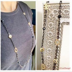 Lia Sophia Modesto dove long Hematite Necklace